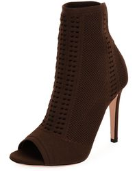 Gianvito Rossi | Vires Knit Open-toe Bootie | Lyst