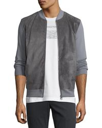 Ferragamo - Men's Suede-front Wool Zip-front Sweater - Lyst