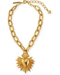 Oscar de la Renta Sacred Heart Pendant Necklace - Metallic