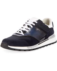 Berluti - Run Track Leather And Suede Trainers - Lyst
