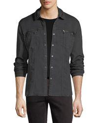 John Varvatos | Denim Knit Shirt Jacket | Lyst