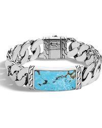 John Hardy - Men's Classic Chain Sterling Silver & Turquoise Id Bracelet - Lyst