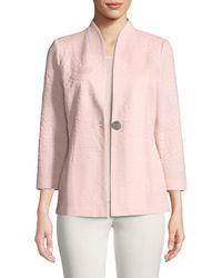 Misook - Textured One-button Jacket - Lyst