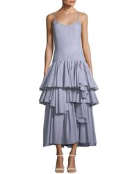 Pascal Millet - Sleeveless Tiered Ruffle Striped Cotton Tank Dress - Lyst
