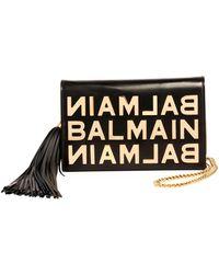 Balmain - Logo Glace Cuir Pochette Clutch Bag - Lyst