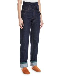 Carven - Belted High-waist Straight-leg Jeans - Lyst