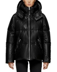 Mackage - Leather Down Puffer Jacket - Lyst