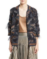 Brunello Cucinelli - Waxed Cotton-linen Zip-up Cardigan With Feather Trim - Lyst