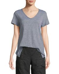 Eileen Fisher - Organic Linen Striped Jersey Top - Lyst