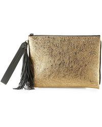 Brunello Cucinelli - Metallic Leather Tassel Pouch Bag - Lyst