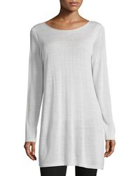 Eileen Fisher - Long-sleeve Seamless Knit Ballet-neck Tunic - Lyst