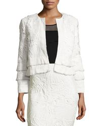 Sachin & Babi - Boxy Tiered Lace Open-front Jacket - Lyst