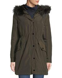 Belle Fare - Hooded Microfabric Jacket W/ Fur Lining & Trim - Lyst