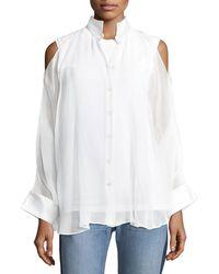 Brunello Cucinelli - Cold-shoulder Monili-trim Layered Shirt - Lyst