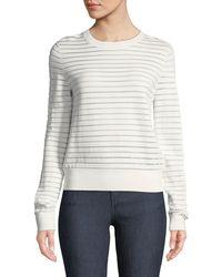Diane von Furstenberg - Crewneck Striped Knit Pullover Top - Lyst