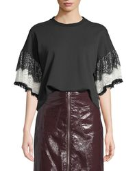 McQ - Lace Tiered-sleeve T-shirt - Lyst