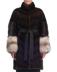 Giuliana Teso | Belted Chevron Mink Fur Coat | Lyst