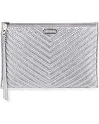 Rebecca Minkoff - Large Quilted Metallic Zip Clutch Bag - Lyst
