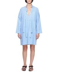 Victoria, Victoria Beckham | Tie-neck Long-sleeve Striped Cotton Dress | Lyst
