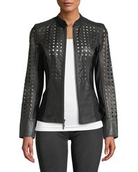 Anatomie - Abigail Perforated Lamb Leather Motorcycle Jacket - Lyst
