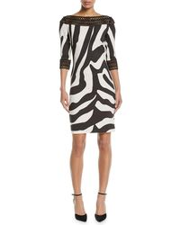 NK32 Naeem Khan - Zebra-stripe Sheath Cocktail Dress W/ Lace Trim - Lyst