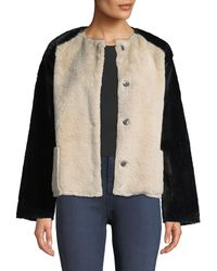 Velvet - Ray Colorblock Structured Faux-fur Jacket - Lyst