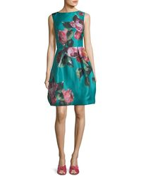Monique Lhuillier - High-neck Sleeveless Floral-print Cocktail Dress - Lyst