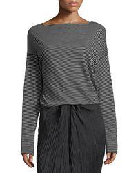 Vince   Pencil-stripe Long-sleeve Boat-neck Cotton Top   Lyst