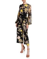 Diane von Furstenberg - Cropped Floral Print Jumpsuit - Lyst