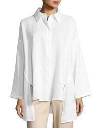 Go> By Go Silk - Linen Oversized Shirt Petite - Lyst