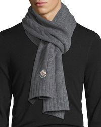 Moncler - Solid Cable-knit Wool Scarf - Lyst 95e1565a8f3