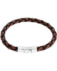 Tateossian - Men's Braided Leather Silver Bracelet – L - Lyst
