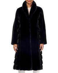 Gorski - Wing-collar Long Mink Fur Coat W/ Sheared Mink Inserts - Lyst