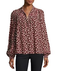 Ba&sh - Collin Button-front Printed Long-sleeve Top - Lyst