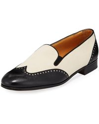 Gravati | Bicolor Mixed Leather Wing-tip Flat | Lyst