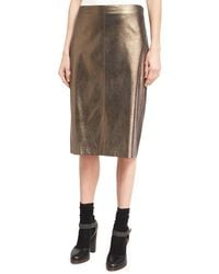 Brunello Cucinelli - Metallic Leather Pencil Skirt - Lyst