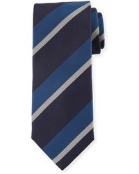 Canali - Large Diagonal Stripe Silk Tie - Lyst