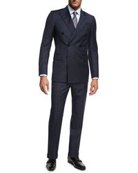 Ermenegildo Zegna - Tonal Check Wool Double-breasted Two-piece Suit - Lyst
