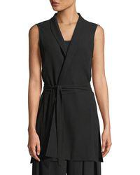Eileen Fisher - High-collar Belted Long Silk Vest - Lyst