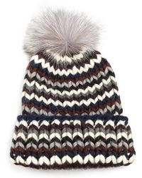 d1a3923e3ce Lyst - Eugenia Kim Rain Fox Fur Pom-pom   Wool Beanie in Black
