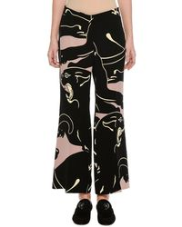 Valentino | Panther-print Cropped Silk Trousers | Lyst