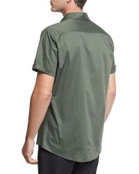 Vince - Reverse-placket Short-sleeve Shirt - Lyst