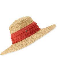 deeb2c9ea87 Tracy Watts - Mar Braided Raffia Sun Hat W  Fringe Trim - Lyst