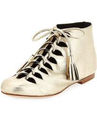 Laurence Dacade - Sunny Metallic Leather Tassel Lace-up Bootie - Lyst