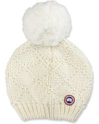 Canada Goose - Oversized Wool Pompom Beanie Hat - Lyst