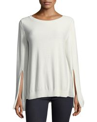 Halston - Split-cuff Sweater With Georgette Insets - Lyst