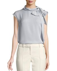 St. John - Silk Georgette Tie-neck Top - Lyst