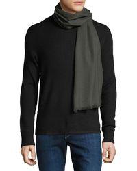 Ferragamo - Men's Solid Wool Fringed Scarf - Lyst
