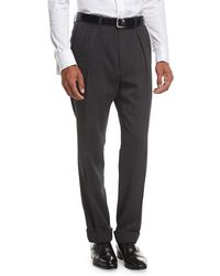 Tom Ford - Shelton Base Melange Twill Pleated Trousers - Lyst