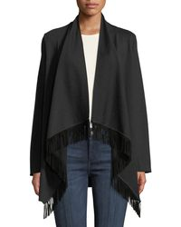 Neiman Marcus - Long-sleeve Waterfall Cardigan With Suede Fringe - Lyst